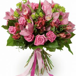 Bouquet of pink orchids, roses, alstroemeria