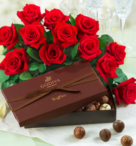 Sending chocolate along with flowers