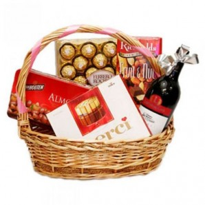 Gift basket with chocolate and wine