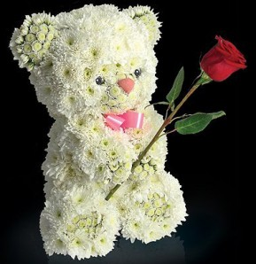 Order flower arrangement in the shape of a teddy bear to Russia