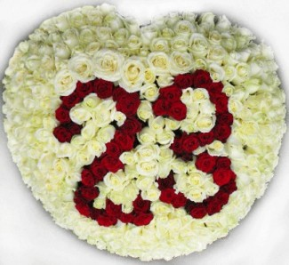 Flowers arrangement in the shape of a heart